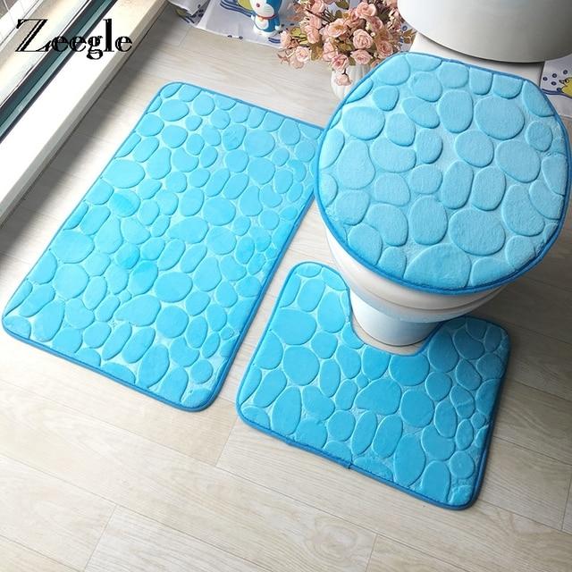 Zeegle 3D Embossed 3Pcs Toilet Bath Mats Set Memory Sponge Bathroom Carpets Absorbent Non-Slip Floor Rugs Toilet Rugs Lid Cover