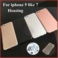 Nuevo para el iphone 5 como iphone 7 7 mini cubierta trasera metal puerta de la batería tapa de la batería carcasa para iphone 5 alta calidad