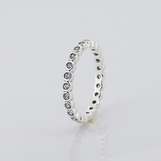 2cb5362a6 Compatible with European Jewelry SMALL ROUND ETERNITY SILVER RING WITH CUBIC  ZIRCONIA 100% 925 Sterling Silver Rings for Women
