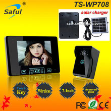 hot sale TFT Monitor LCD Color 7 inch Video Door Phone Doorbell Home Security door Intercom with night vision & solar charger