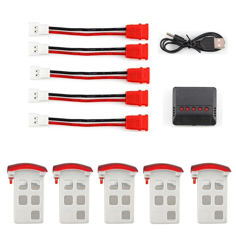 5pcs 3.7V 500mAh LiPO Drone Battery for Syma X5UC X5UW RC Quadcopter Drone + 5 in 1 Battery Charger free shipping easily starting projector bulb elplp71 fit for eb 485w eb 485wt