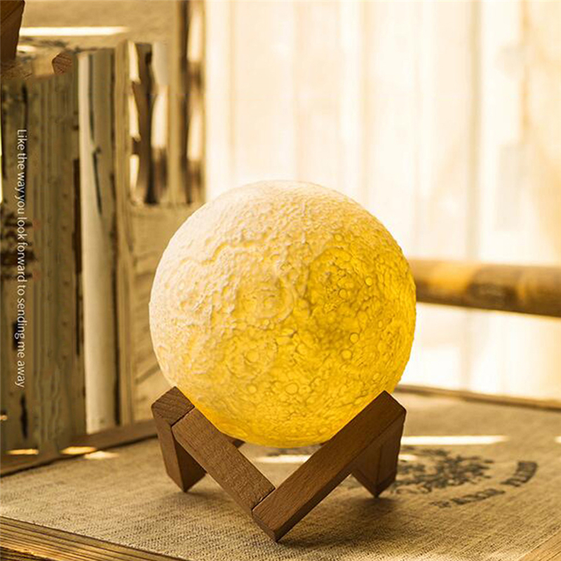 Rechargeable 3D Print Moon Lamp Touch Switch Bedroom Bookcase Night Light Home Decor Creative Valentines Day Gift