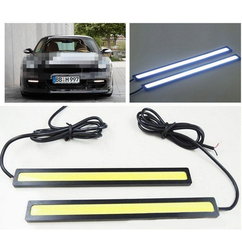 1 Piece Car Styling Working Lights 12V COB LED DRL Driving Day Running Light Strip COB LED DRL Bar Stripes Panel 17cm Aluminum
