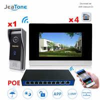 7 inch WIFI IP Video Door Phone Intercom Wireless Door Bell Speaker 1-4 POE Access Control System Support Smoke/Gas/Water Alarm