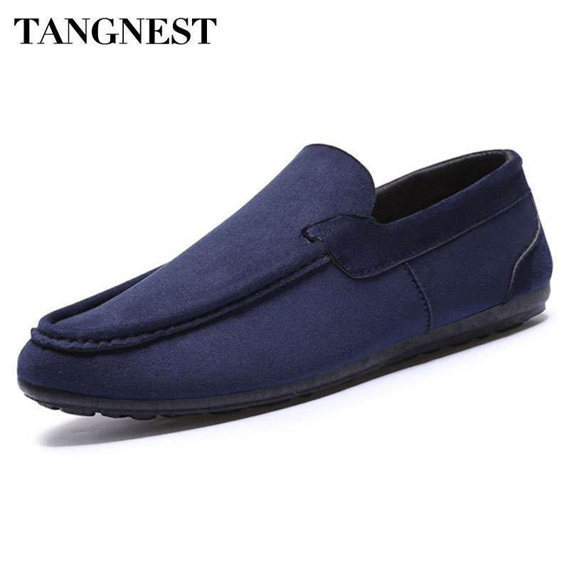 Tangnest Men's Loafers 2017 Autumn New Flock Leather Flats Men Solid Slip-on Casual Shoes Comfort Driving Shoes For Male XMR2211 branded men s penny loafes casual men s full grain leather emboss crocodile boat shoes slip on breathable moccasin driving shoes