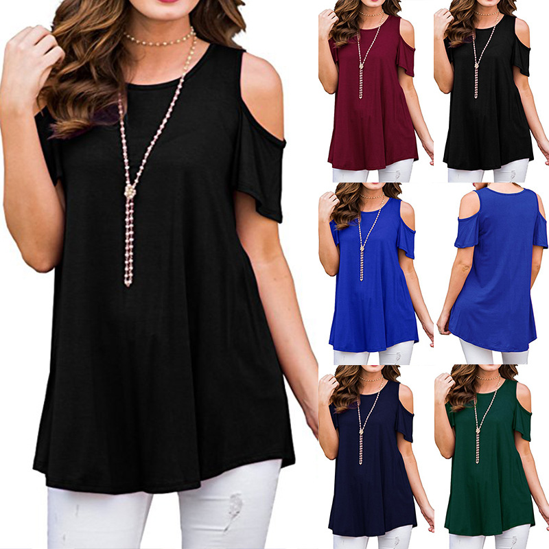 New High Quality 2018 Summer Tops Women Short Sleeve Sexy Casual T-shirt Slim Off Shoulder T-shirt Hollow Out Loose Tops T-shirt