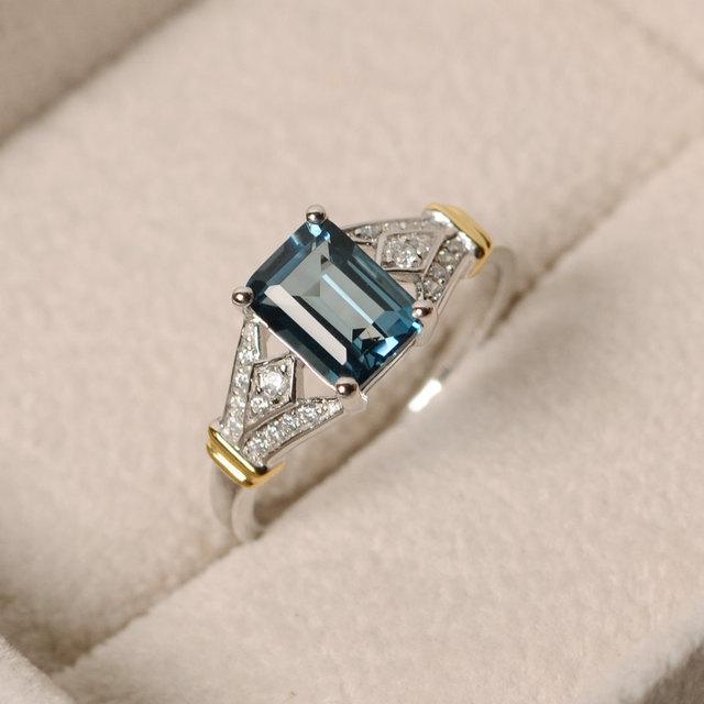 Senhoras de Luxo Quadrado Azul Cristal AAA Cubic Zirconia Anéis de Prata para As Mulheres Big Stone Anel de Noivado Casamento Jóias