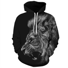 2018 Fashion Men's Sweatshirt Big Lion Animal Print 3D Clothing Cool Sudaderas Hombre Hoodies Design Sweats Tops Homme Hoodies