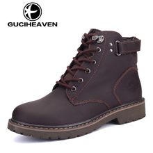 New 2017 Genuine Leather Men Boots Fashion ankle boots fur Shoes men winter anti-skiding nubuck real leather boots 2 Colors