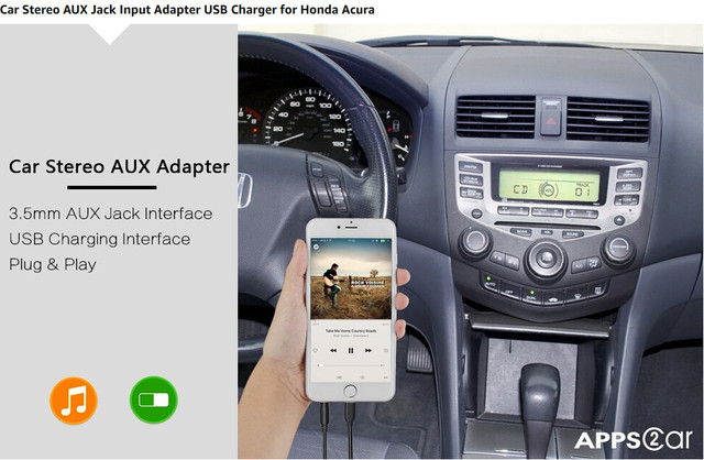 Online Shop APPSCar Car Stereo AUX Input Adapter Auxiliary MP Kit - Acura tl 2004 aux input