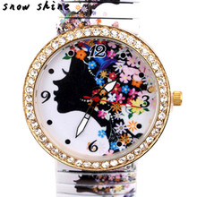 snowshine #10xin  Luxury Girl Diamond Flower Shrink Bracelet Quartz Analog Wrist Watch    free shipping