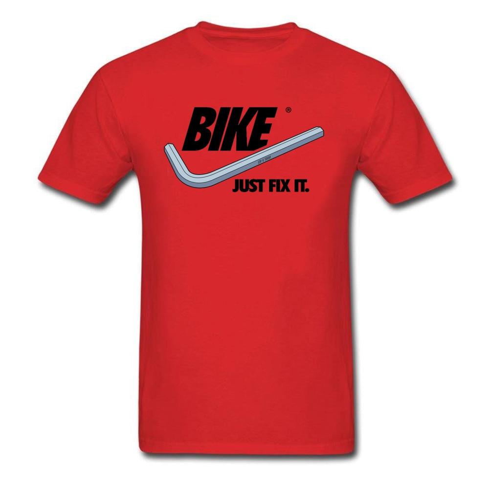 Men Funky Comics T Shirt O-Neck Fall Cotton Fabric Top T-shirts cosie Short Sleeve BIKE-Just-Fix-It- Tees Wholesale BIKE-Just-Fix-It- red
