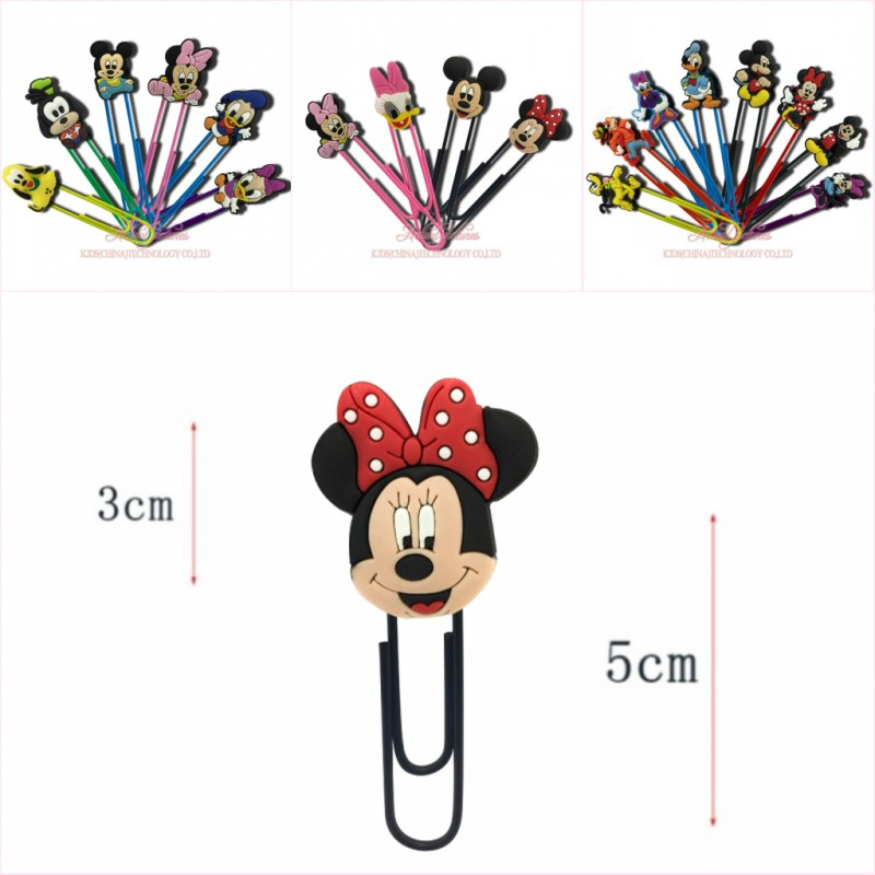4-8pcs/lot Mickey Kawaii Cartoon PVC Bookmarks Paper Clips Page Holder For Teacher Students Office School Supply Kids Gift