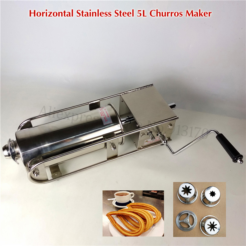 Horizontal Manual 5L Stainless Steel Spanish Churros Machine Hand Operation Sausage Stuffer Meat Sausage Filling Machine