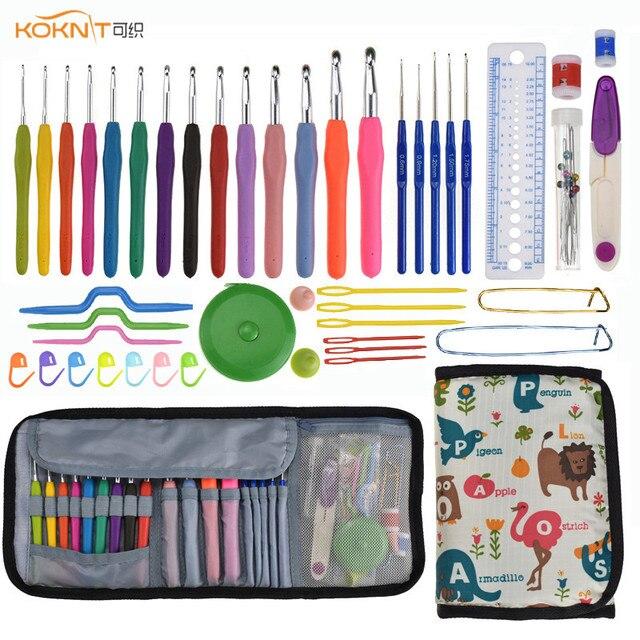 KOKONI Crochet Hook Set Yarn Weave Knitting Needles Crochet Gauge Scissors Sewing Accessories DIY Craft Tools with Storage Bag