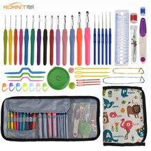 KOKONI Häkeln Haken Set Garn Weben Stricken Nadeln Häkeln Gauge Schere Nähen Zubehör DIY Handwerk Werkzeuge mit Lagerung Tasche