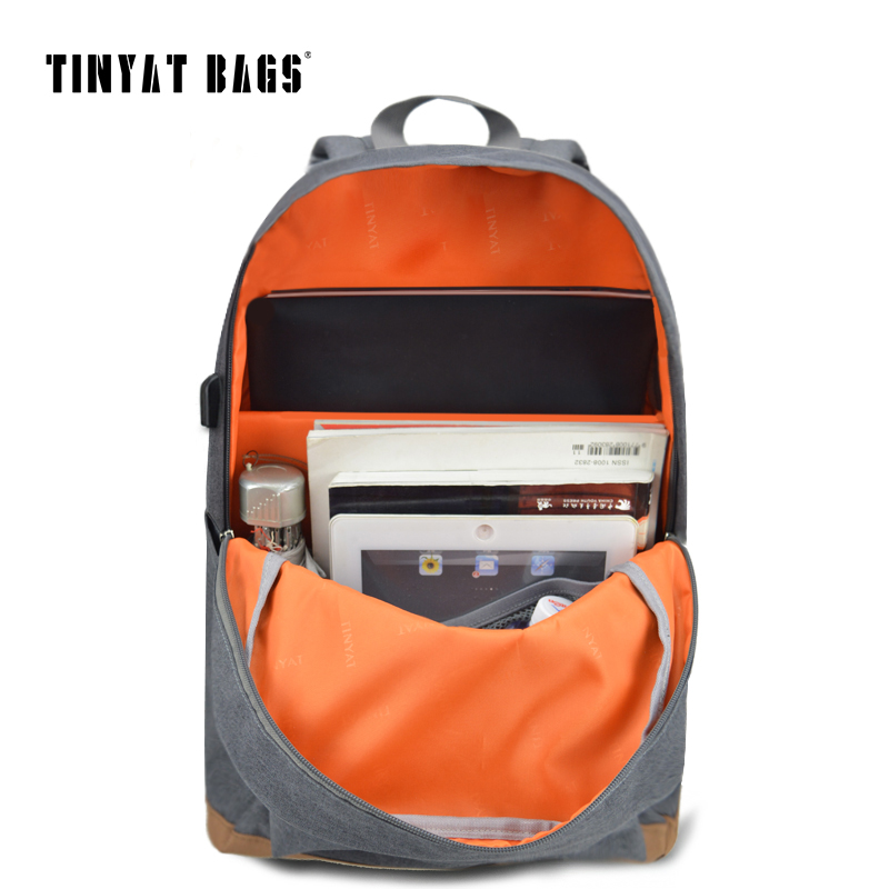 TINYAT Men's 15 inch laptop backpack computer male school backpacks rucksacks leisure for teenage Travel Women Shoulder Mochila  2