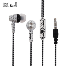 M&J Good Sound In-Ear Crack Earphone Super Deep Bass Studio Monitor Stereo Music Earbuds With Microphone For iPhone Samsung MP3