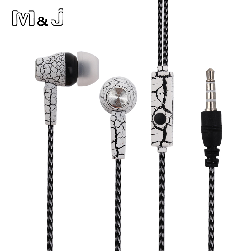 M & J Good Sound In-Ear Crack Auricolare Super Deep Bass Studio Monitor musica stereo Auricolari con microfono per iPhone Samsung MP3