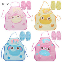 1 Set Kids Apron Sleeves Children Painting Kitchen Cooking Waterproof Protection