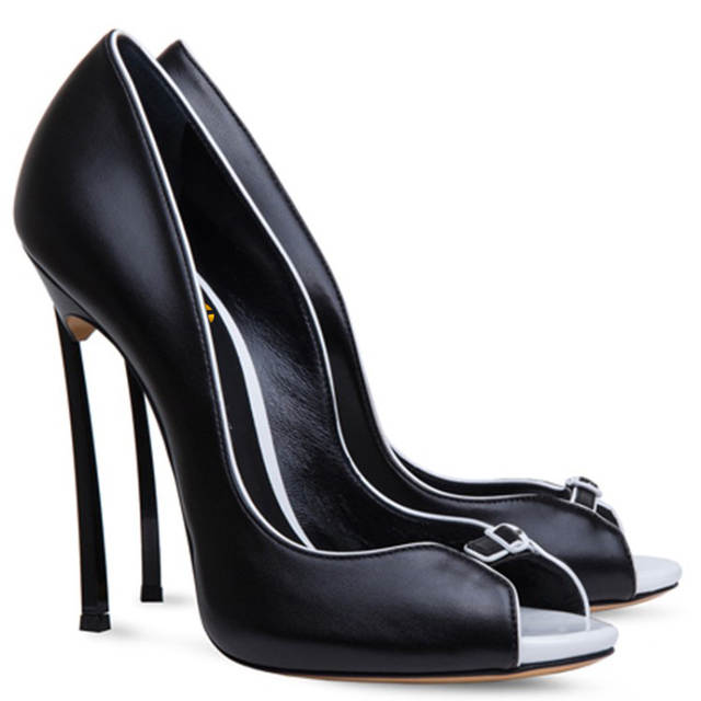 placeholder Original Intention New Elegant Women Pumps Sexy Peep Toe Metal  Stiletto Heels Pumps Black White Shoes 6b8abde10a00