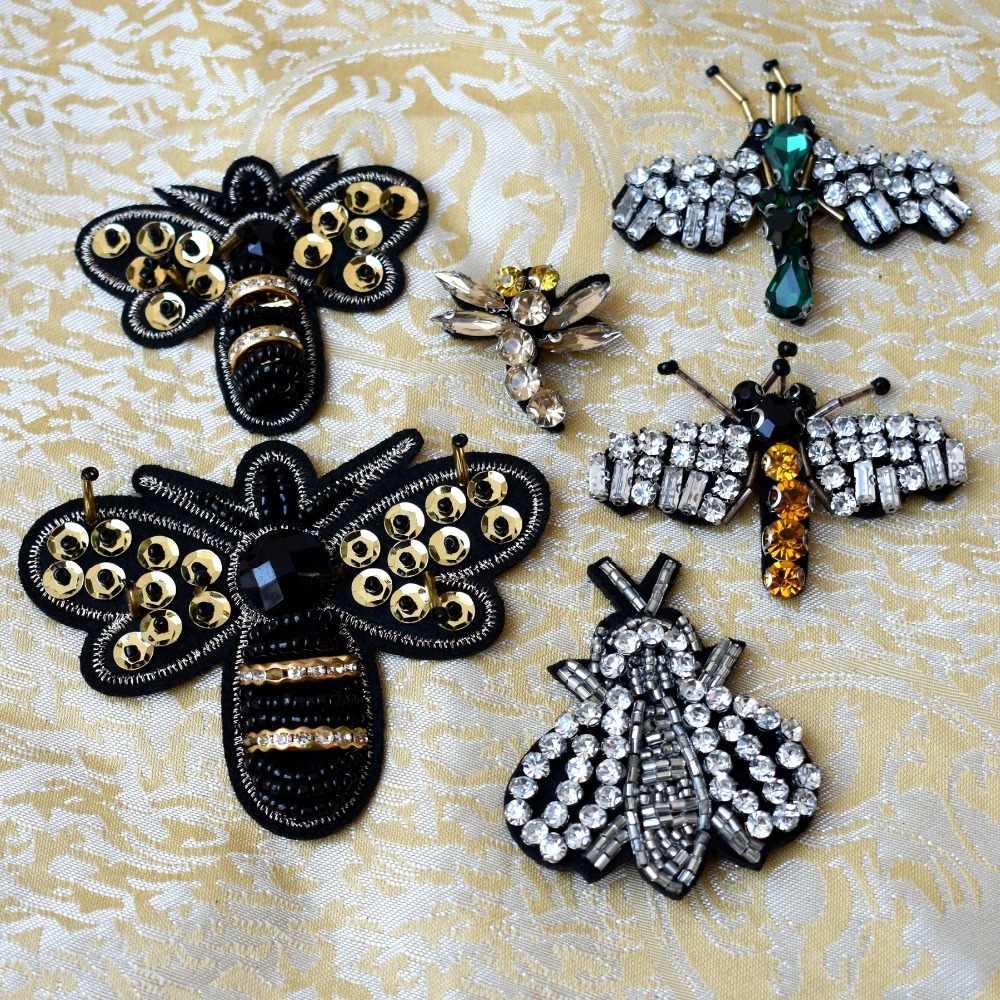Inestones לתפור על שפירית תיקוני בגדי DIY חיות פאייטים Applique פסים בגדי מדבקות חרוזים Bee תגי