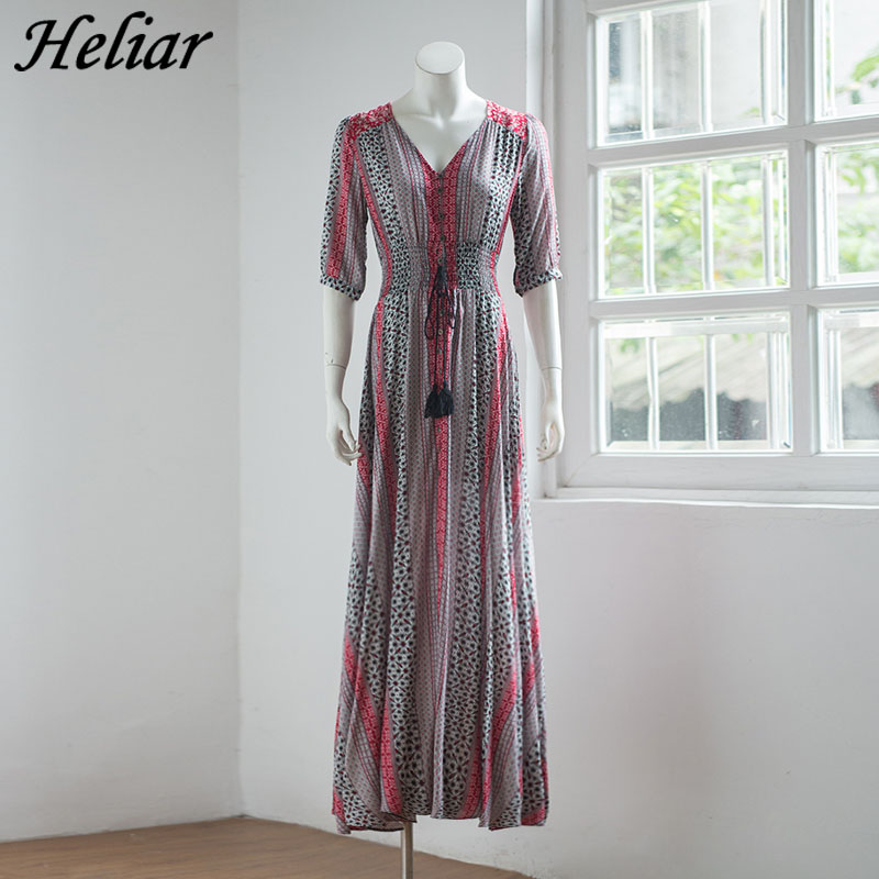 HELIAR Women Bohemia Print Dress three dimensional cut Casual long Dresses Tassel Button Autumn font b