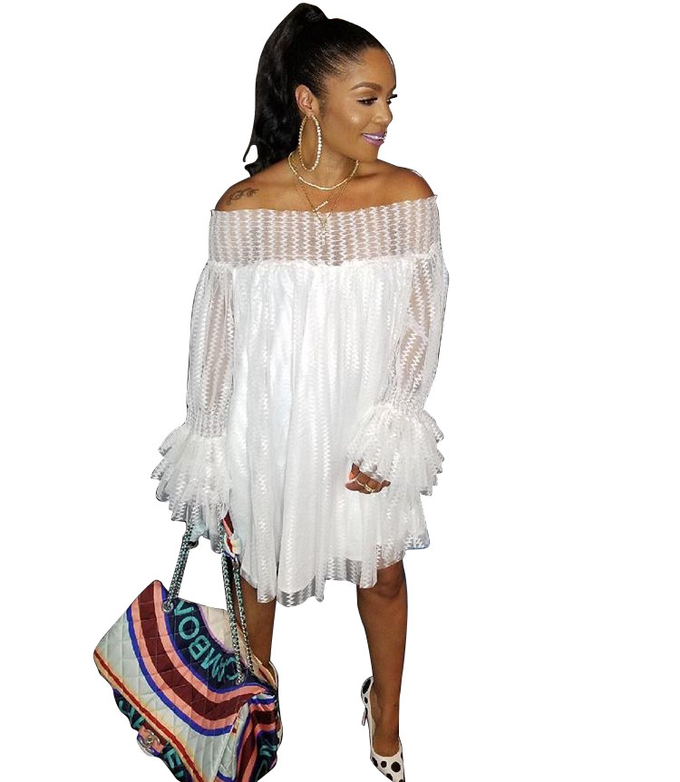 2018 New Womens Long Sleeve Solid Lace Off The Shoulder Strapless Dresses White Yellow Blue Purple Orange S-XXXL