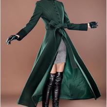Высокое качество новое осеннее и зимнее ультра длинное шерстяное пальто тонкое женское кашемировое шерстяное пальто