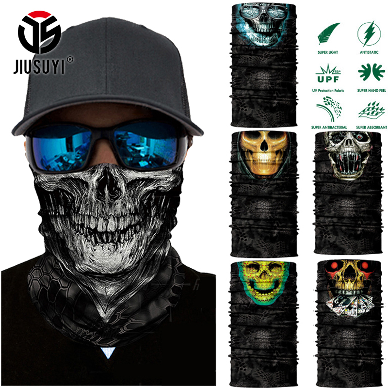 JIUSUYI 3D Seamless Balaclava Magic Scarf Neck Face Mask Ghost Skull Skeleton Head