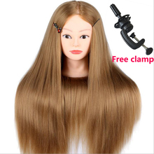 26 Thick Blonde Hair Maniquin Head For Braid Hairdressing Cosmetology 100% High Temperature Fiber Training Mannequin