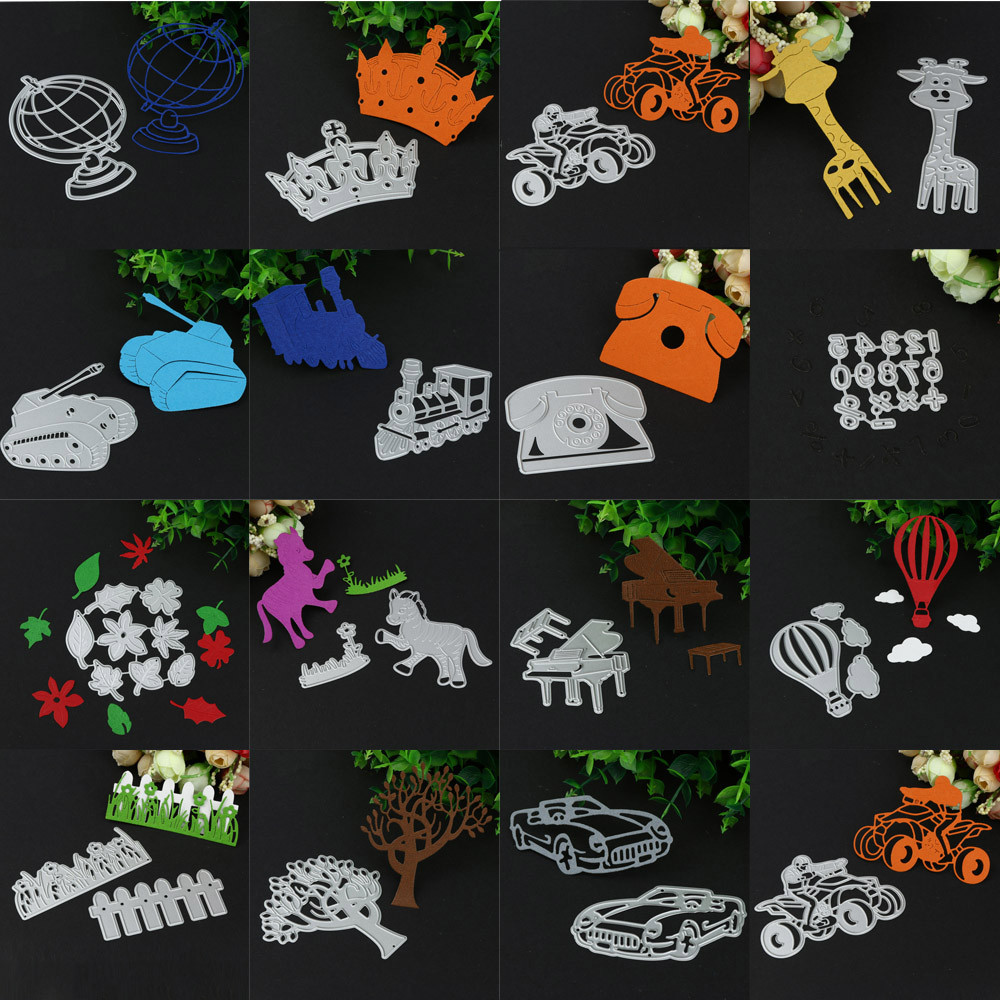 Silver Giraffe/Tank/Train/Car/Piano New Metal Cutting Dies Stencil DIY Scrapbooking Embossing Album Paper Card Craft #