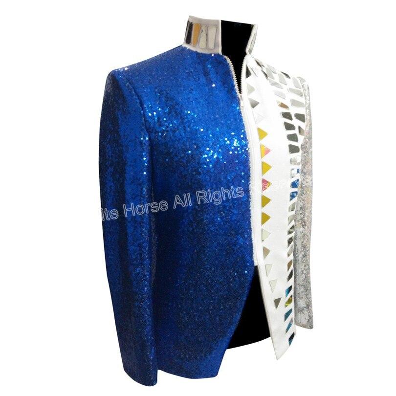 Heren Blazer Slim Fit Jacket Deluxe Heren Sequin Jacket Wit en Blauw - Herenkleding - Foto 2