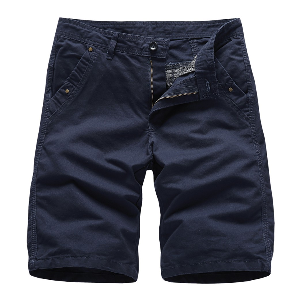 New Brand Men's Pocket Short Pants Casual Solid Color Straight  Slim Fit Trousers Jeans Dropshipping 2019 Hot Sell