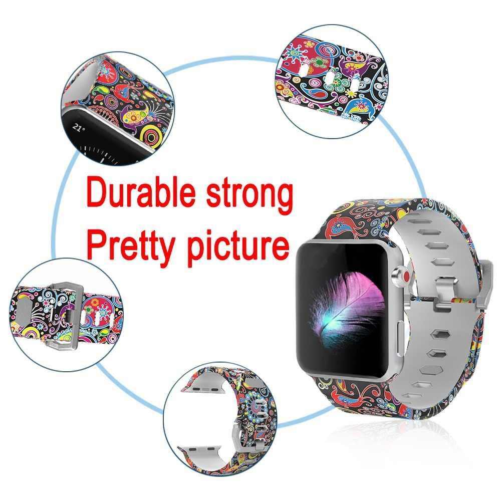 Bemorcabo Drucken Bunte Sport Armband für Apple Uhr Serie 4 3 2 1 Uhr Strap 44mm 40mm 38mm 42mm Uhr Armband