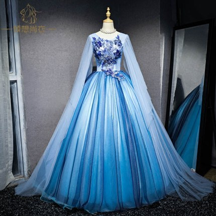 100 Real Light Blue Wing Sleeve Ball Gown Luxury Court