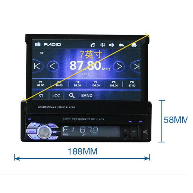 2016 Универсальный 7-дюймовый TFT Сенсорный Экран HD Автомобильный dvd-плеер Стерео Радио Тюнер Аудио Памяти GPS Навигатор Bluetooth Automotion 1 Din