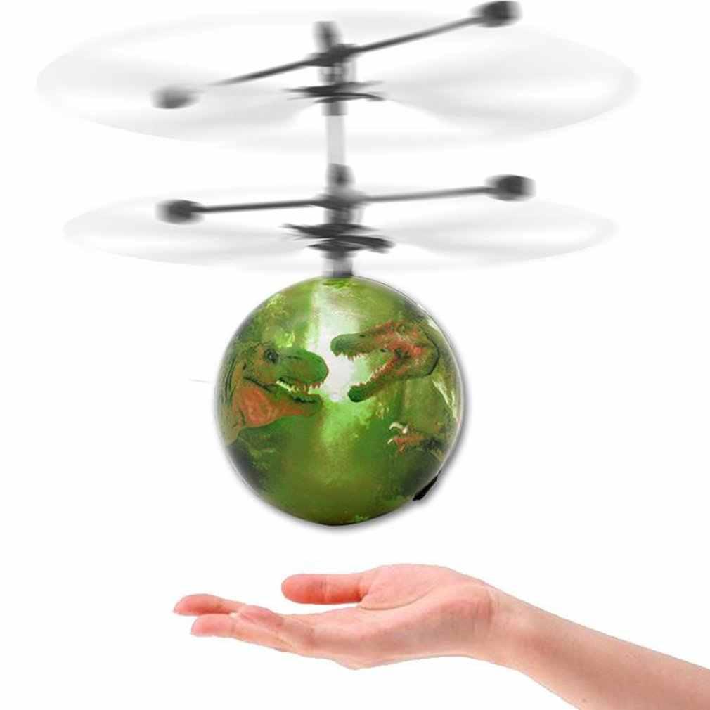 RC تحلق الكرة مضيئة كيد رحلة كرات الإلكترونية الأشعة تحت الحمراء التعريفي الطائرات التحكم عن بعد لعب أضواء LED طائرة مروحية مصغرة