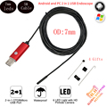7mm Lens IP67 Waterproof Endoscope Android Camera 5m Cable 6LED USB Android Endoscope Camera Snake Pipe Inspection Borescope Cam