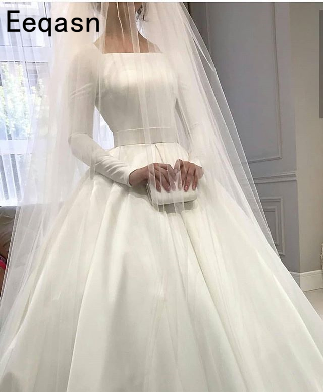 Simple White Satin Long Sleeve Wedding Dress 2019 Boho Bridal Gowns Cheap Ivory Plus Size Bride Dresses Long Robe de mariee