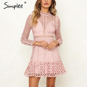 Image 4 - Simplee zarif hollow out mesh dantel kadın elbise fırfır ince sonbahar kış elbise 2018 yüksek bel uzun kollu parti seksi elbiseler