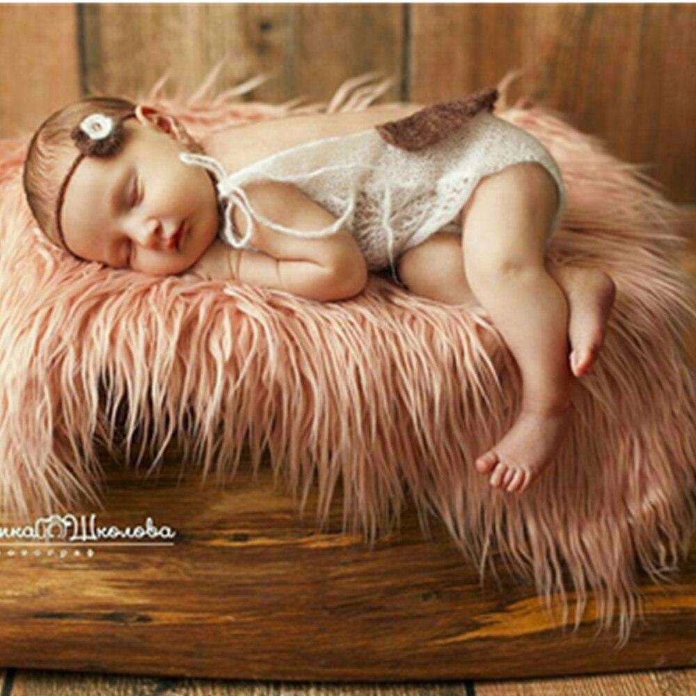 Faux Fur 100cm 75cm Newborn Size Blanket Backdrop Newborn Photography Props Basket Stuffer