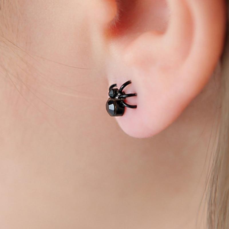 RONGQING Black spider Earrings 1pair Fashion Jewelry Ear cuff Earrings 3D Animal Stud Earrings Halloween European Vintage