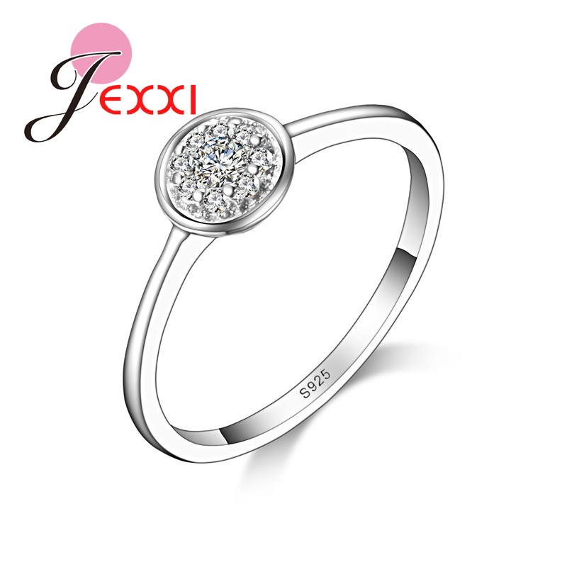 JEXXI 925 Sterling Silver Jewerly White CZ Crystal Wedding Engagement Rings For Women Bridal Ring Jewerlry Gift Wholesale Price