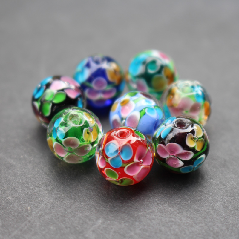 10pcs 12mm 14mm Handmade Fine Glass Lampwork Beads Flower