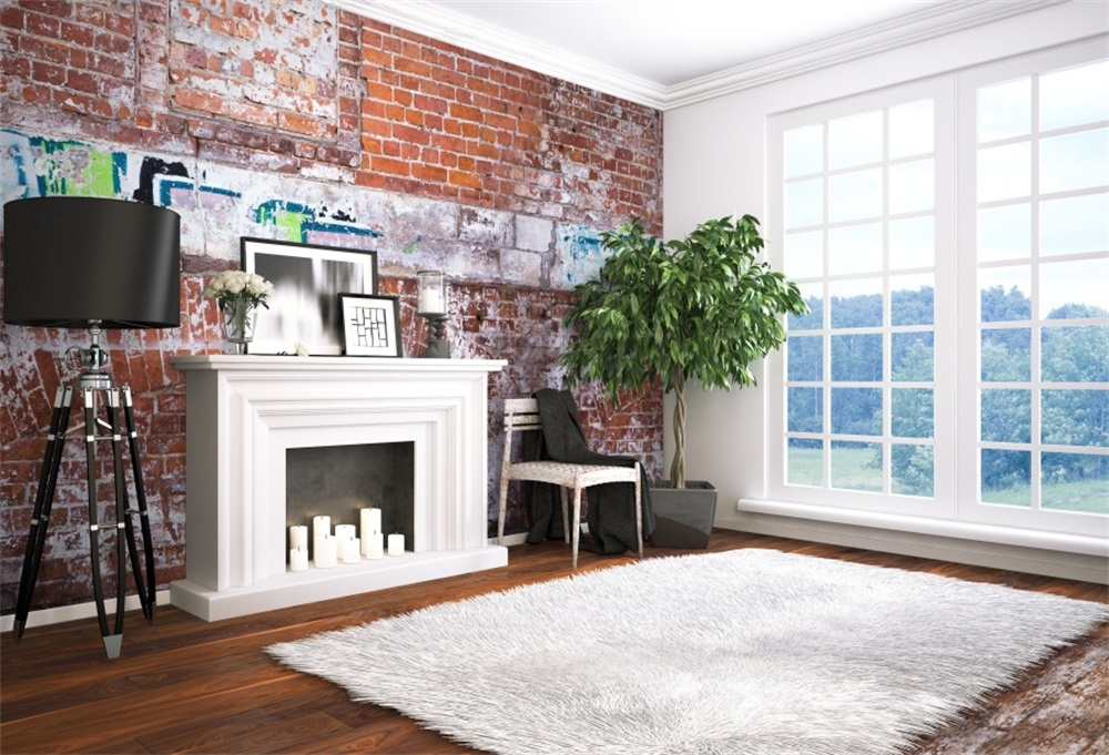 fireplace brick wall window interior carpet french chair backgrounds laeacco background photographic backdrops