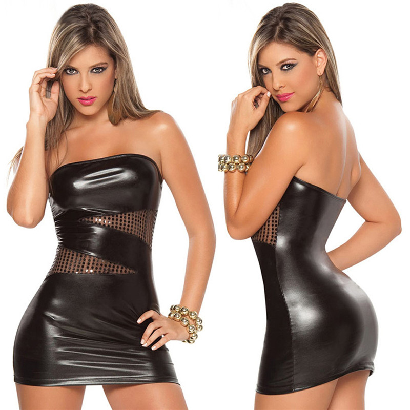 Sexy Wet Look Black/Silver Women Sexy Faux Leather Strapless Slash-Neck Dress Club Wear Costumes Clothing PVC Sexy Cat Suits