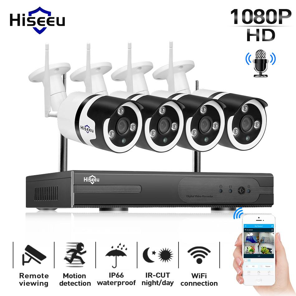 Hiseeu 1080 P Беспроводная система видеонаблюдения 4CH 2MP аудио ip-камера влагозащищенная сетевая система видеонаблюдения комплект Wi-Fi