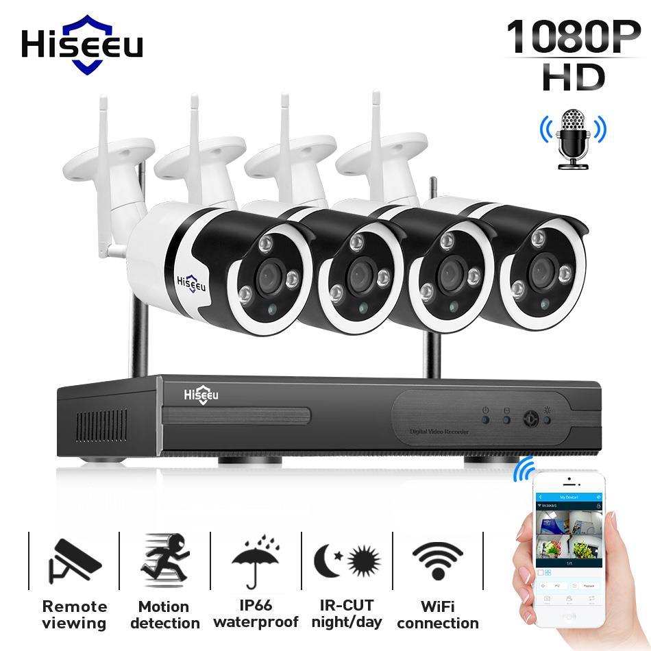 Hiseeu 1080 P Беспроводная система видеонаблюдения 4CH 2MP звук для камеры водостойкая сетевая система безопасности видеонаблюдения комплект Wi-Fi