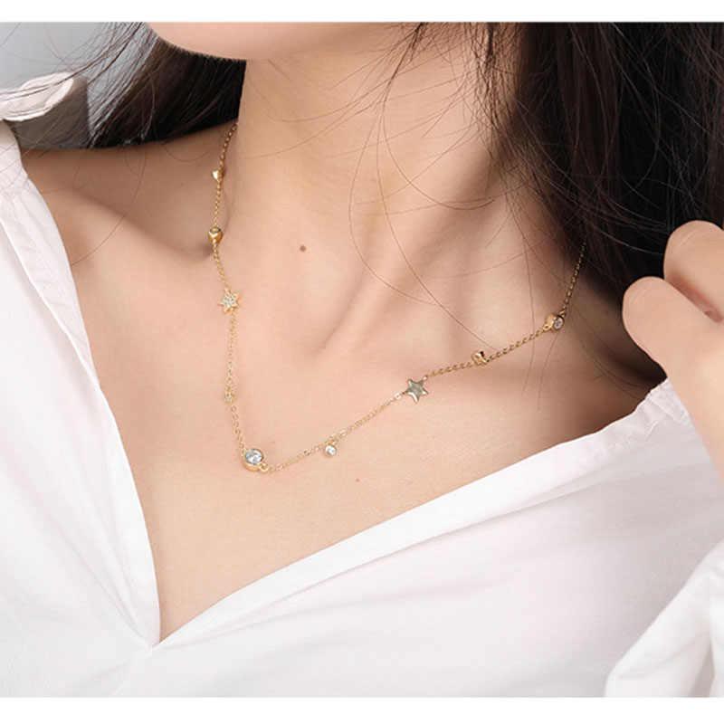 INZATT réel 925 en argent Sterling Zircon étoile tour de cou pendentif collier pour la mode femmes fête d'anniversaire beaux bijoux mignon 2019 cadeau